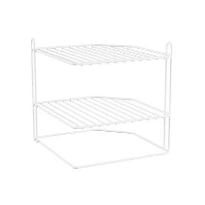 2-Shelf White Corner Storage Organizer