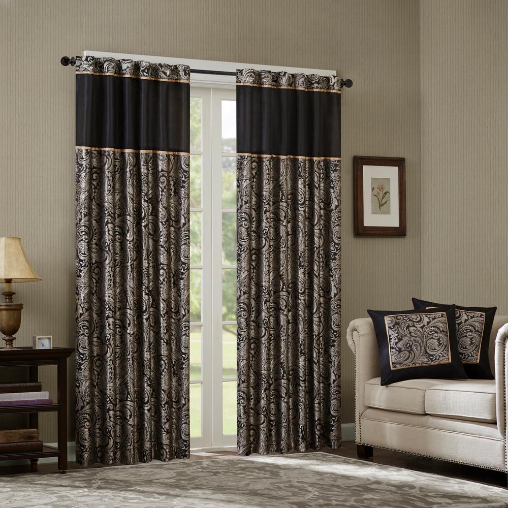 Madison Park Whitman Black Room Darkening Curtain 50 in. x 95 in. (2) Jacquard Panel Pair
