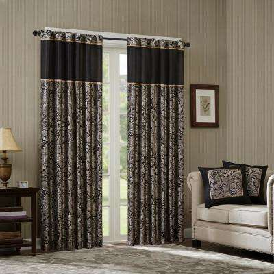 Whitman Black Room Darkening Curtain 50 in. x 95 in. (2) Jacquard Panel Pair