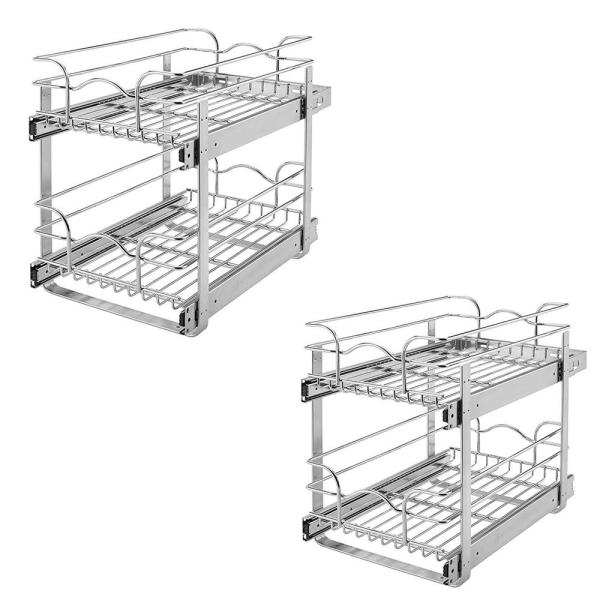 Rev A Shelf 12 In Wide 18 In Deep Base Kitchen Cabinet 2 Tier Pull Out Wire Basket 2 Pack 5wb2 1218 Cr The Home Depot