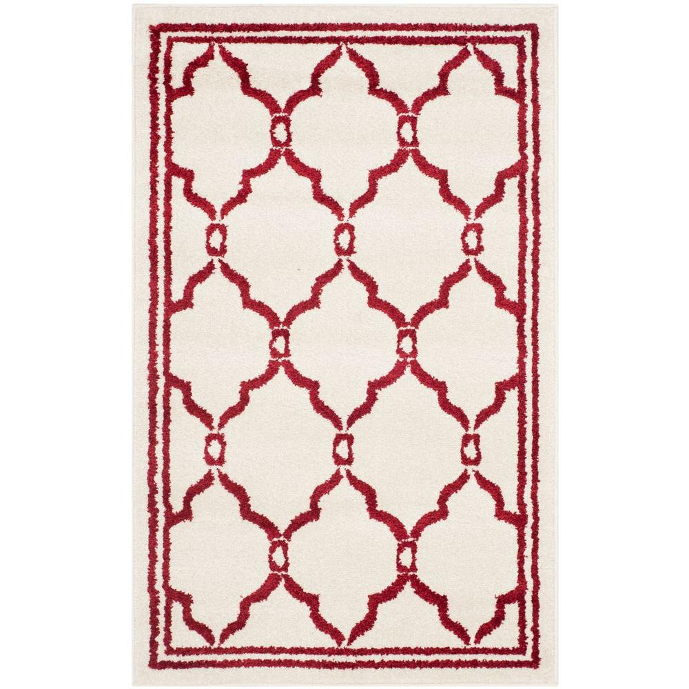 Safavieh Amherst Ivory/Red 3 ft. x 4 ft. Indoor/Outdoor Area Rug