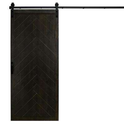 36 in. x 84 in. Herringbone Midnight Black Alder Wood Interior Barn Door Slab with Sliding Door Hardware Kit
