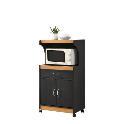 Hodedah Black Beech Microwave Cart With