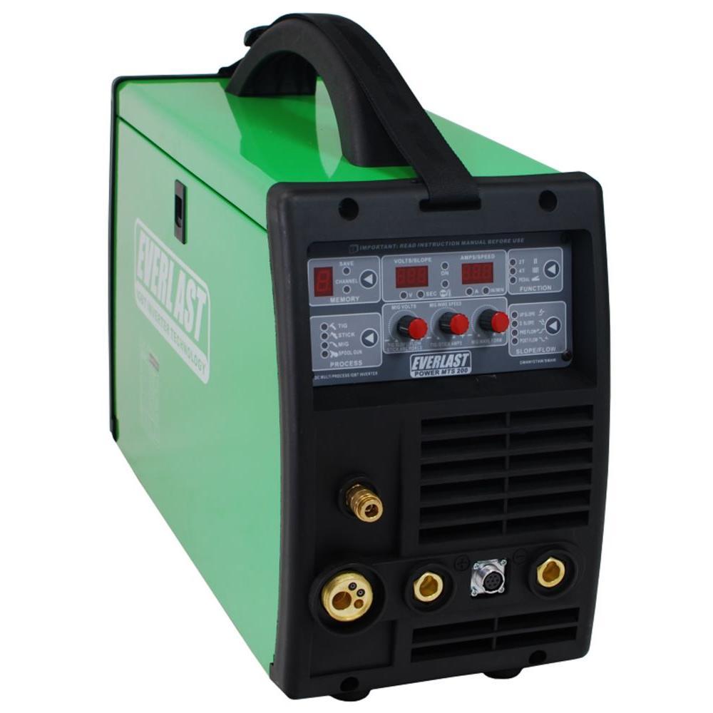 200 Amp PowerMTS 200 IGBT Digital Inverter DC MIG/TIG/Stick Multi-Process Welder, HF/Lift TIG Start, 240V