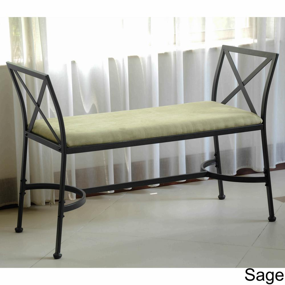 225 & International Caravan Black Mat Iron Foot-of-Bed Bench with Micro-suede Cushion
