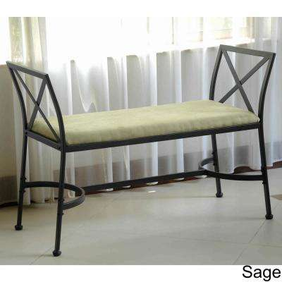 International Caravan Black Mat Iron Foot-of-Bed Bench with Micro-suede Cushion