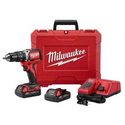 M18 18-Volt Lithium-Ion Brushless Cordless 1/2 in. Compact Hammer Drill/Driver Kit W/ (2) 2.0Ah Batteries & Hard Case