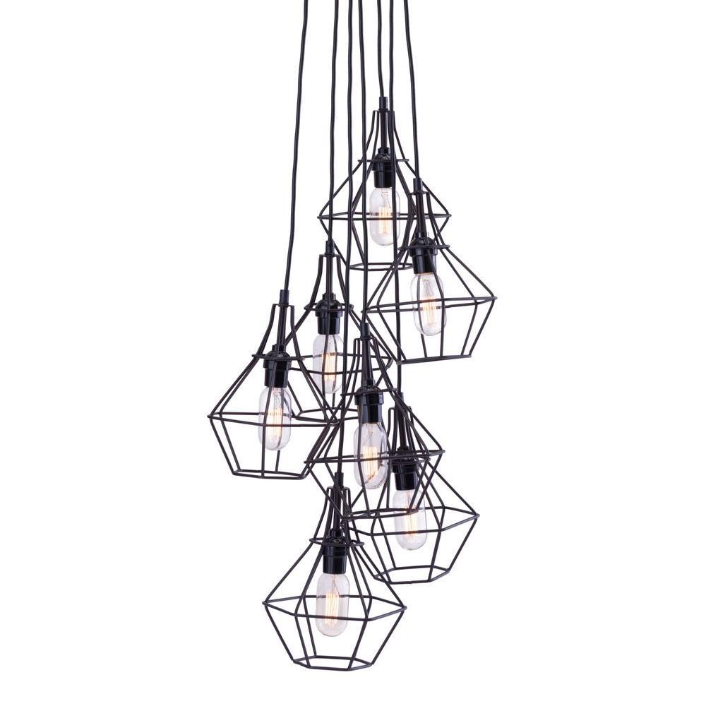 Palmerston 7-Light Distressed Black Ceiling Lamp