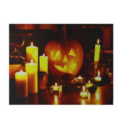 15.75 in. x 19.5 in. LED Lighted Halloween Jack-O'-Lantern by Candlelight Canvas Wall Art