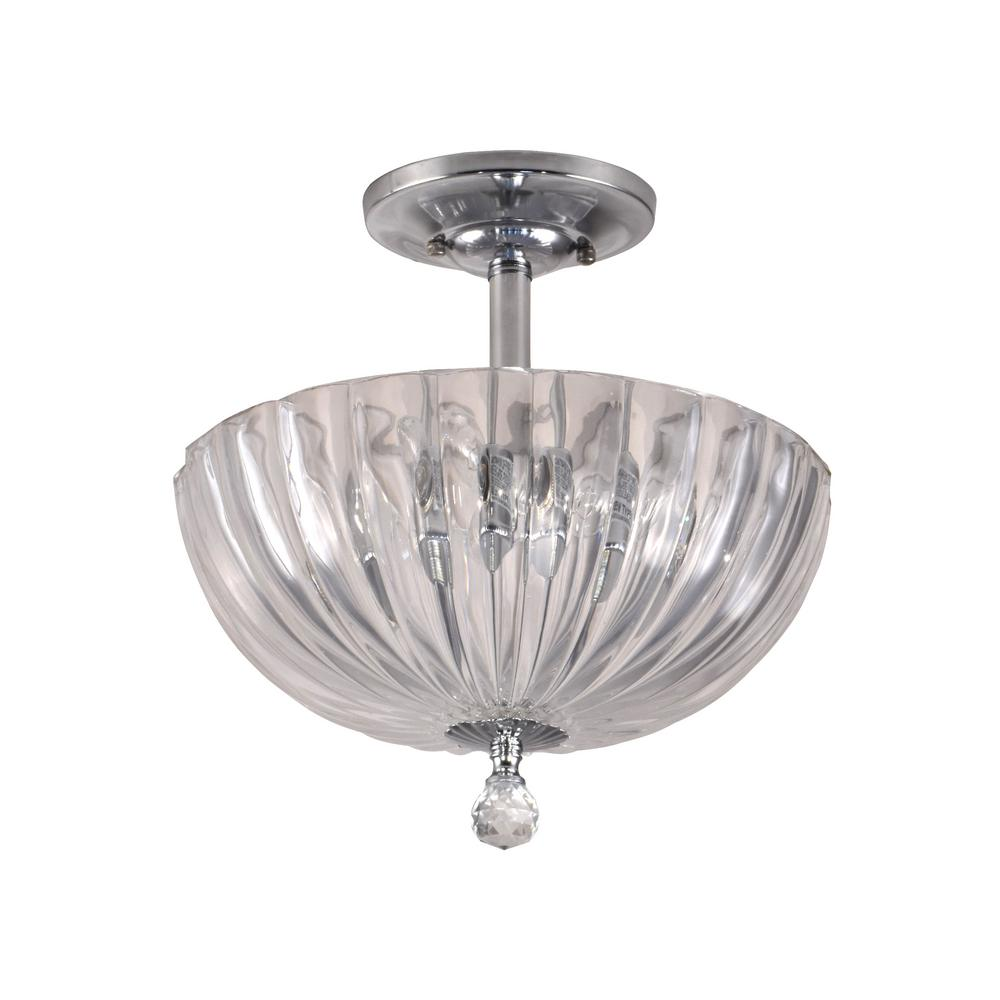 Dale Tiffany Sereno 11 75 In Polished Chrome Flush Mount Semi Flush Mount With Solid Crystal Shade Gh11233pc The Home Depot