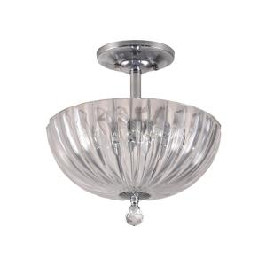 Sereno 11.75 in. Polished Chrome Flush Mount/Semi Flush Mount with Solid Crystal Shade