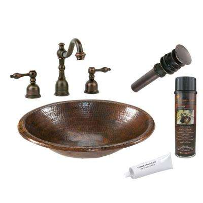 All-in-One Small Oval Self Rimming Hammered Copper Bathroom Sink in Oil Rubbed Bronze