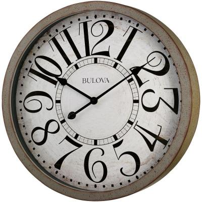 24 in. H x 24 in. W Large Round Wall Clock in Antique Gray