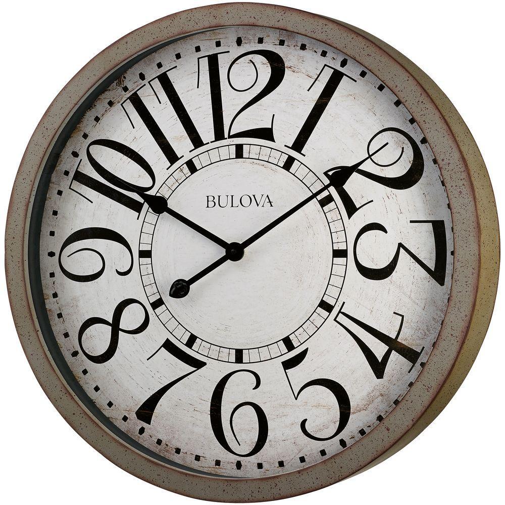 Bulova 24 inch H x 24 inch W Large Round Wall Clock in Antique Gray by Bulova