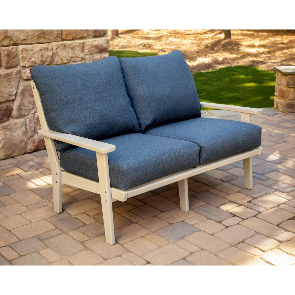 Admirable Polywood Grant Park Sand Deep Seating Plastic Outdoor Loveseat With Stone Blue Cushions Gamerscity Chair Design For Home Gamerscityorg