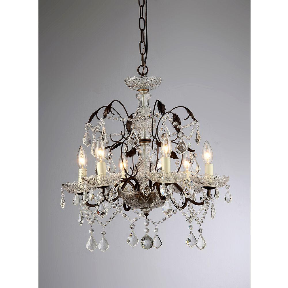Warehouse of Tiffany Idina 6-Light Antique Bronze Hanging Chandelier - Warehouse Of Tiffany Idina 6-Light Antique Bronze Hanging Chandelier