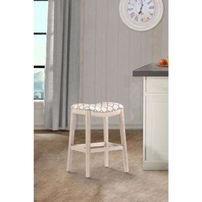 Sorella White Wire-Brushed Non Swivel Counter Stool