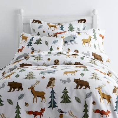 Night Forest Cotton Flannel Duvet Cover