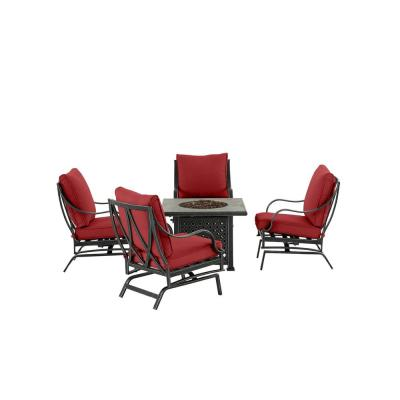 Highland Point Black Pewter 5-Piece Aluminum Outdoor Patio Fire Pit Set with CushionGuard Chili Red Cushions