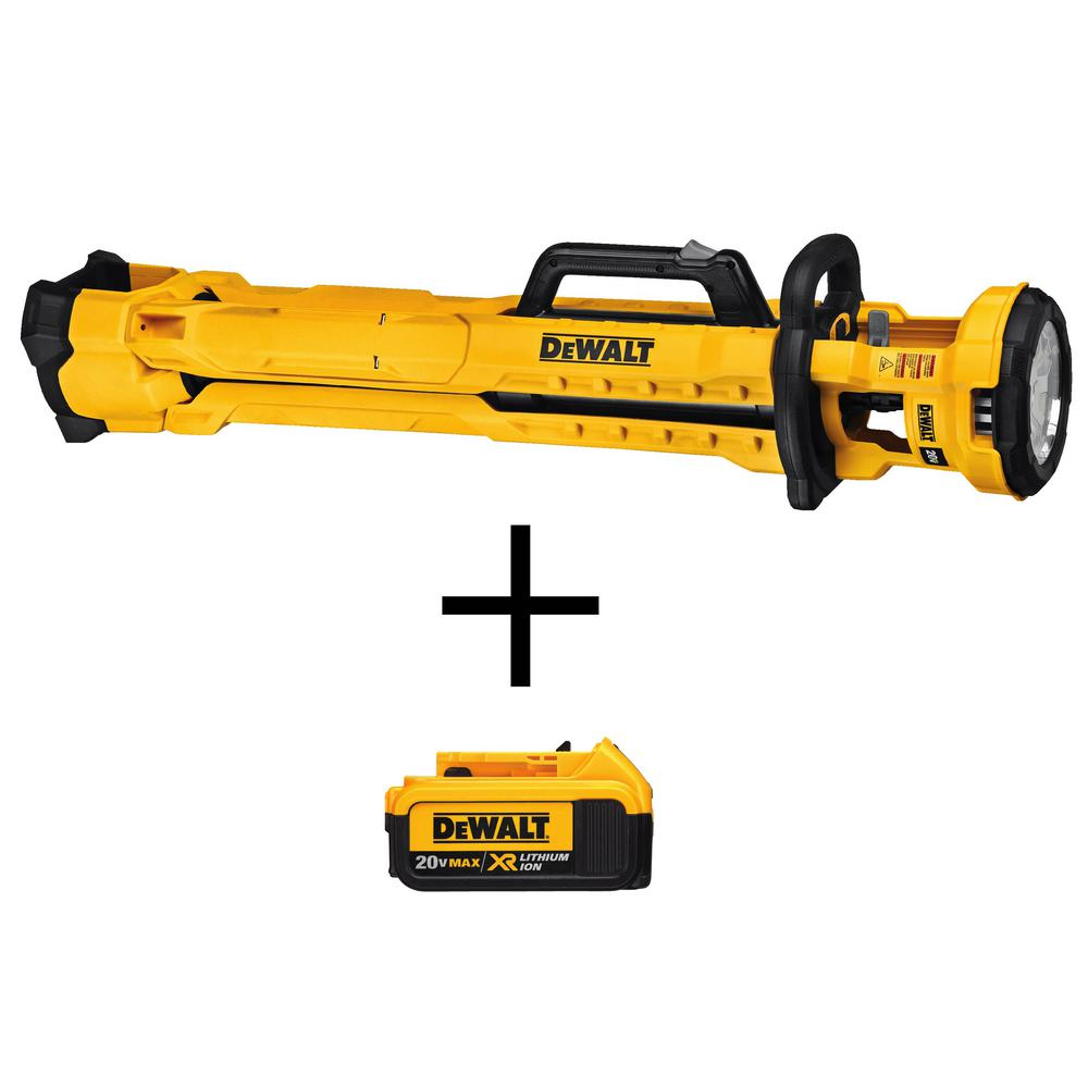 DEWALT 3000-Lumen 20-Volt Max Tripod Light (Tool Only) with Free 20-Volt MAX XR 4.0Ah Lithium-Ion Premium Battery Pack