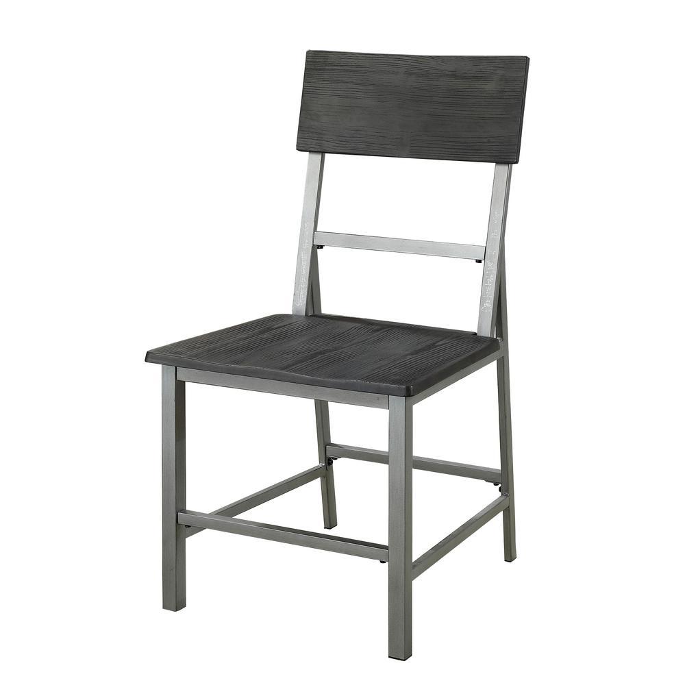 Nunez Black and Silver dustrial Style Side Chair CM3921SC-2PK