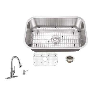 Undermount 30 in. 18-Gauge Stainless Steel Kitchen Sink in Brushed Stainless with Gooseneck Faucet