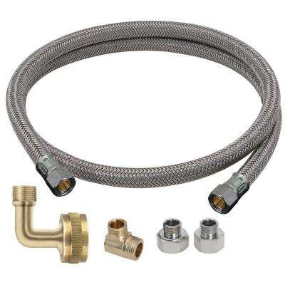 Dishwasher Kit: 3/8 in. Compression x 3/8 in. Compression x 48 in. Braided Polymer Connector with 3 Appliance Adaptors
