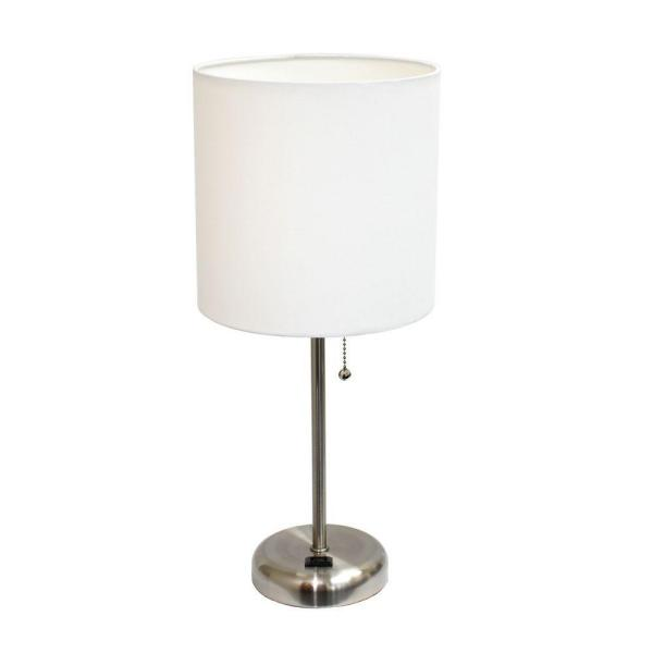 19.5 in. Brushed Steel Stick Table Lamp with Charging Outlet Base
