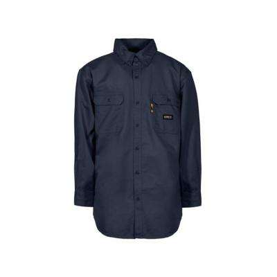 Men's Large Navy Cotton and Nylon FR Button Down Work Shirt
