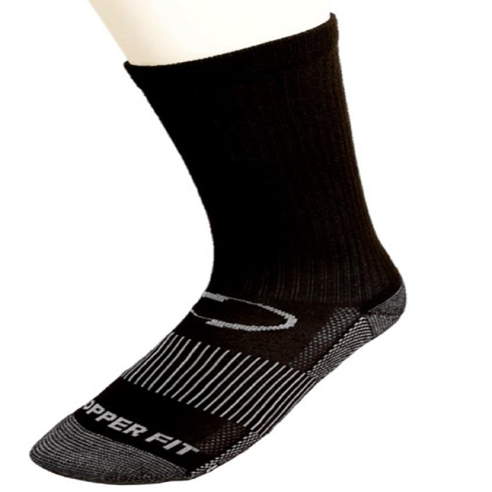 Large/X-Large Black Copper Infused Crew Sport Socks (2-Pack)