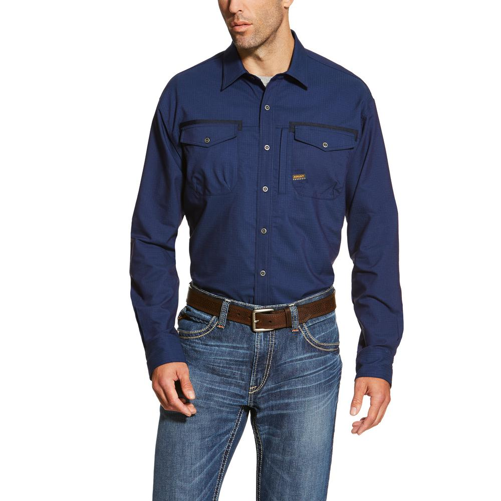 Ariat Men's Large Navy Long Sleeve Rebar Work Shirt