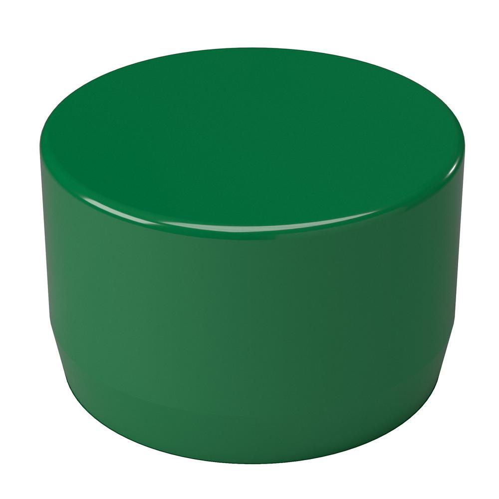 1-1/4 in. Furniture Grade PVC External Flat End Cap in Green (10-Pack)