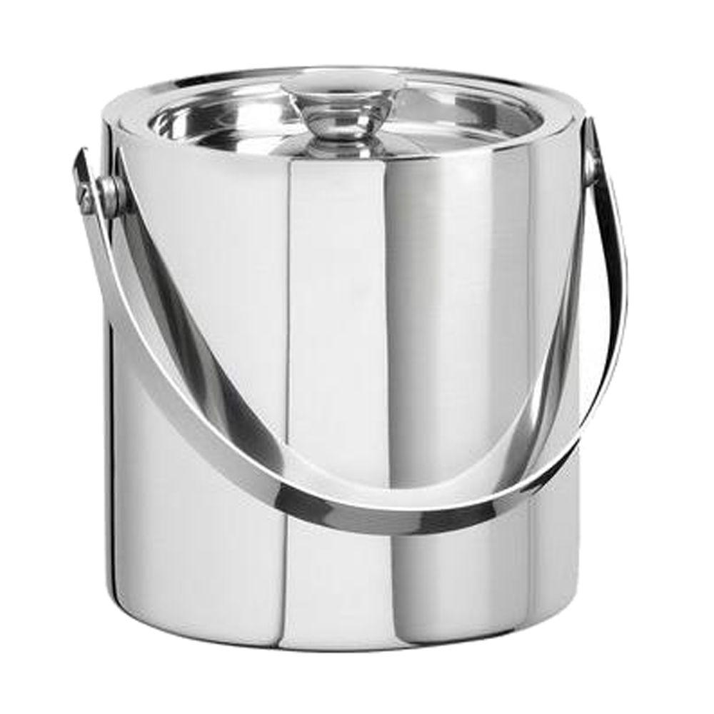 Kraftware 1 5 Qt Insulated Ice Bucket In Polished Stainless Steel 70387 The Home Depot