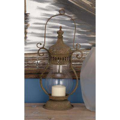 Rustic 18 in. Traditional Rusted Iron and Glass Candle Lantern