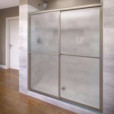 Deluxe 59 in. x 71-1/2 in. Obscure Framed Sliding Shower Door in Brushed Nickel