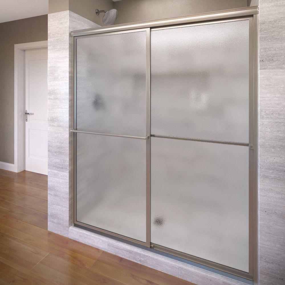 Basco Deluxe 59 in. x 71-1/2 in. Obscure Framed Sliding Shower Door in Brushed Nickel