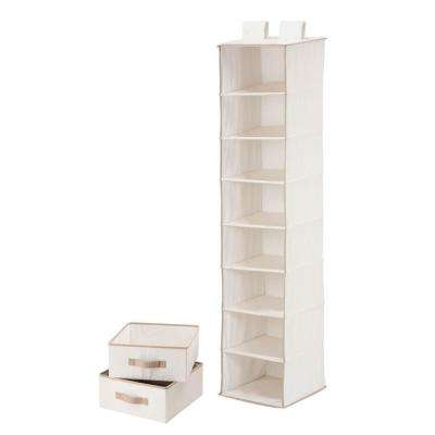 8-Shelf Natural Polycotton Hanging Organizer with 2 Drawers