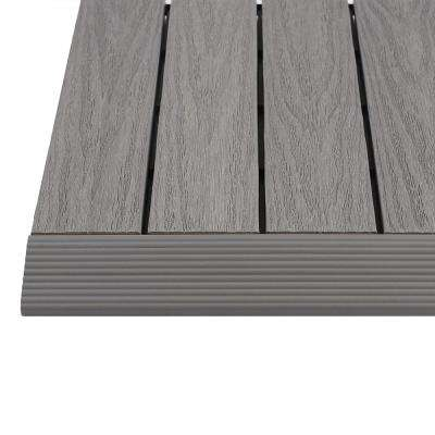 1/6 ft. x 1 ft. Quick Deck Composite Deck Tile Straight Trim in Westminster Gray (4-Pieces/Box)