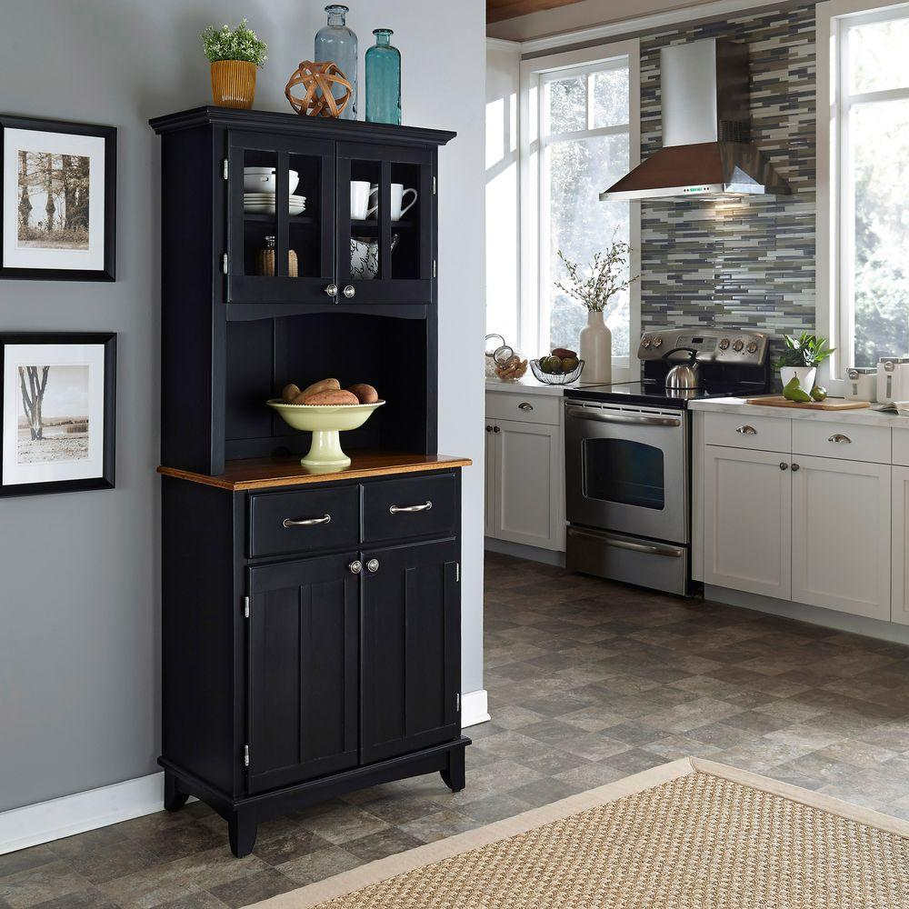 Black and Cottage Oak Buffet with Hutch