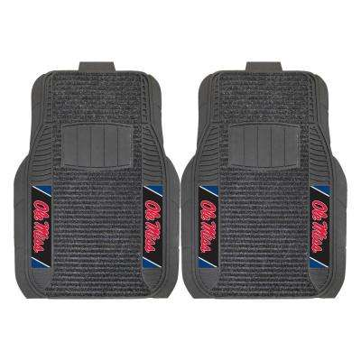 NCAA University of Mississippi Ole Miss Black Heavy Duty 2-Piece 20 in. x 27 in. Vinyl Car Mat