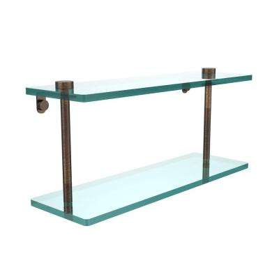16 in. L x 8 in. H x 5 in. W 2-Tier Clear Glass Vanity Bathroom Shelf in Venetian Bronze