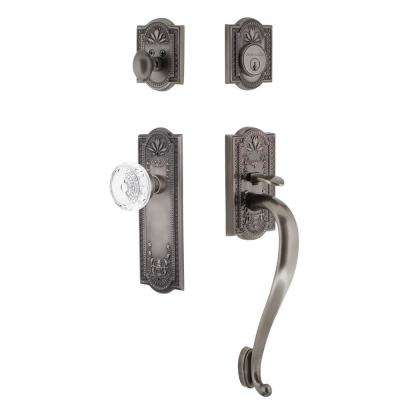 Meadows Plate 2-3/8 in. Backset Antique Pewter S Grip Handleset Crystal Meadows Door Knob