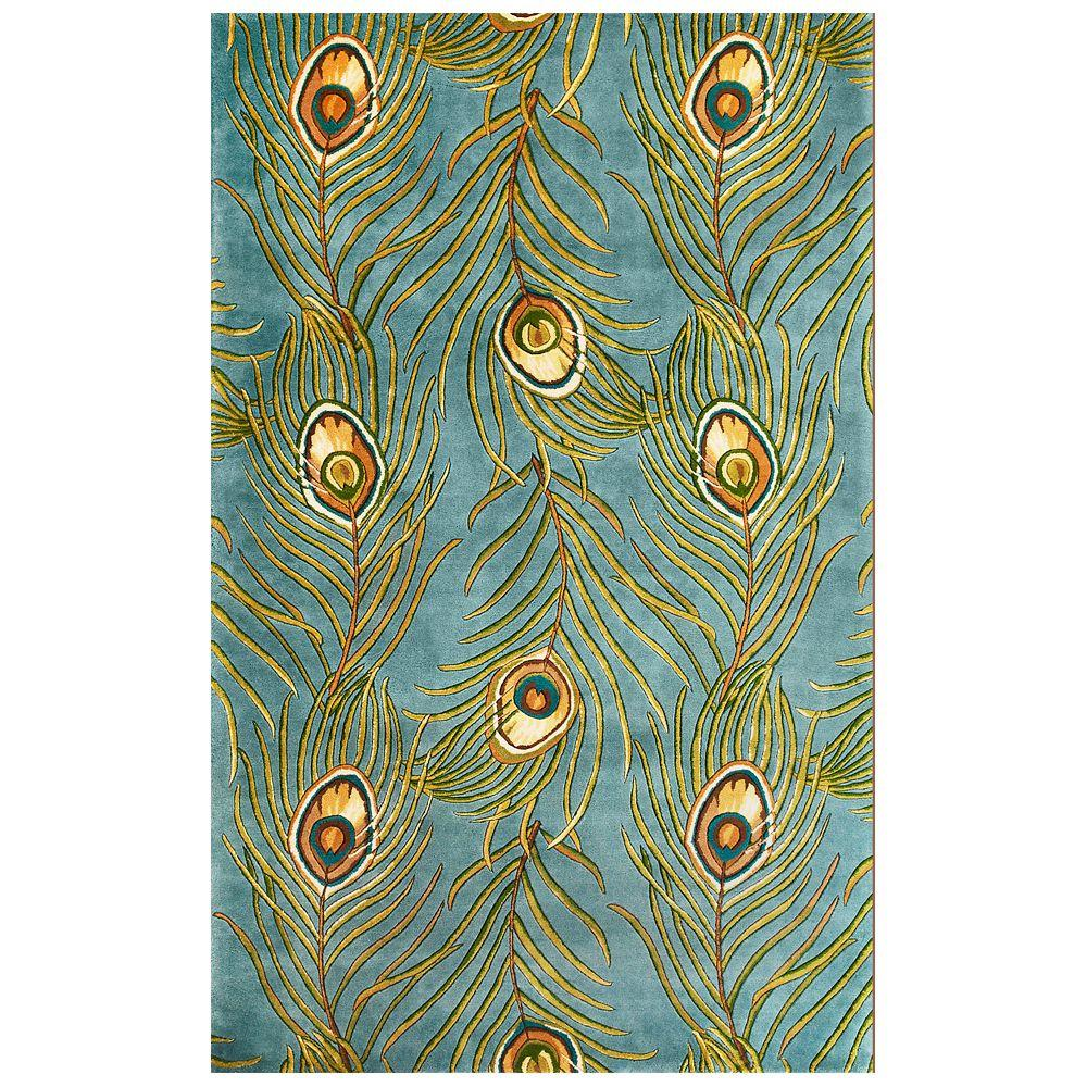 Peacock Quill Light Blue 5 ft. x 8 ft. Area Rug