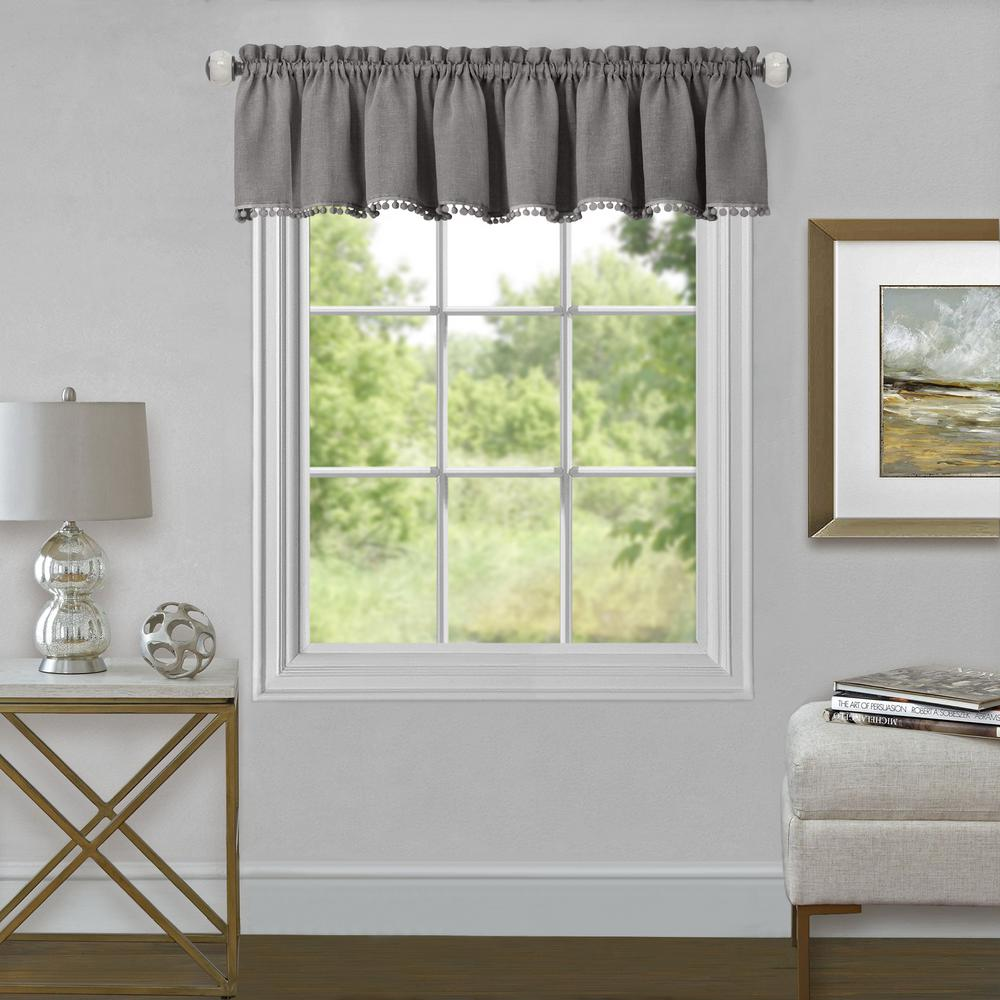 Achim Wallace 14 in. L Polyester Valance in Grey