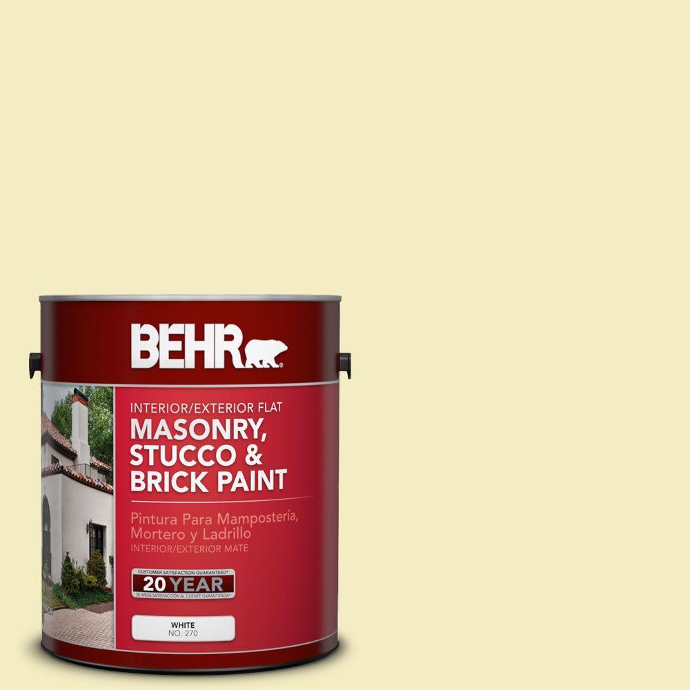 1-gal. #MS-34 Vanilla Flat Interior/Exterior Masonry, Stucco and Brick Paint