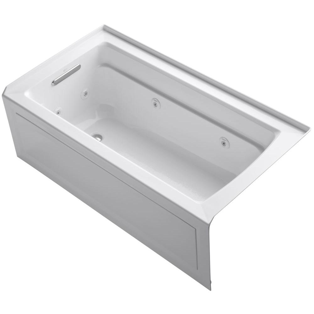Left Drain Rectangular Alcove Whirlpool Bathtub In White