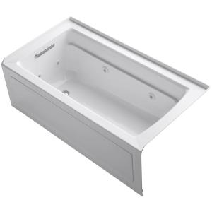 Kohler Archer 5 ft. Left-Drain Rectangular Alcove Whirlpool Bathtub in White by KOHLER