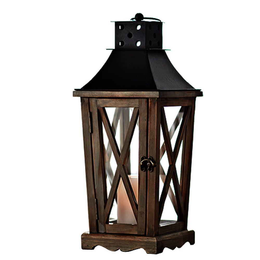 Home Decorators Collection 17 in. H Weathered Wood Lantern