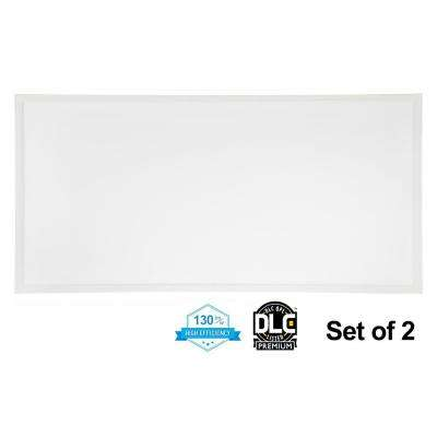 2 ft. x 4 ft. 50-Watt White Integrated LED Edge-Lit Flat Panel T-Bar Grid Recessed Troffer Light