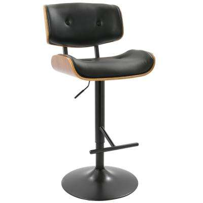 Lombardi 34 in. Walnut and Black Adjustable Height Barstool